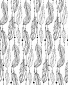 Seamless black and white pattern of hand drawn feathers with boho pattern. Tribal doodle background. Vector element for your creativity. poster