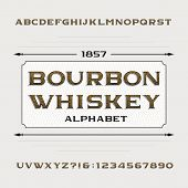 Bourbon whiskey alphabet. Retro distressed alphabet vector font. Letters and numbers. Vintage vector typeface for labels, headlines, posters etc. poster