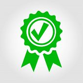 Vector green approved certificate icon on grey background. Certified Seal Icon poster