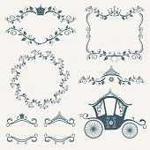Vintage royalty frames with crown, diadems, carriages vector set.  Frame with crown, floral frame decoration, vintage frame royalty illustration poster
