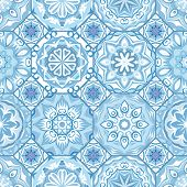 Gorgeous floral tile design. Moroccan or Mediterranean octagon tiles, tribal ornaments. For wallpaper print, pattern fills, web page background, surface textures. Indigo blue white teal aqua poster