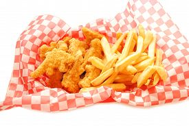 Fast food Deep Fried Chicken Strips with French Fries