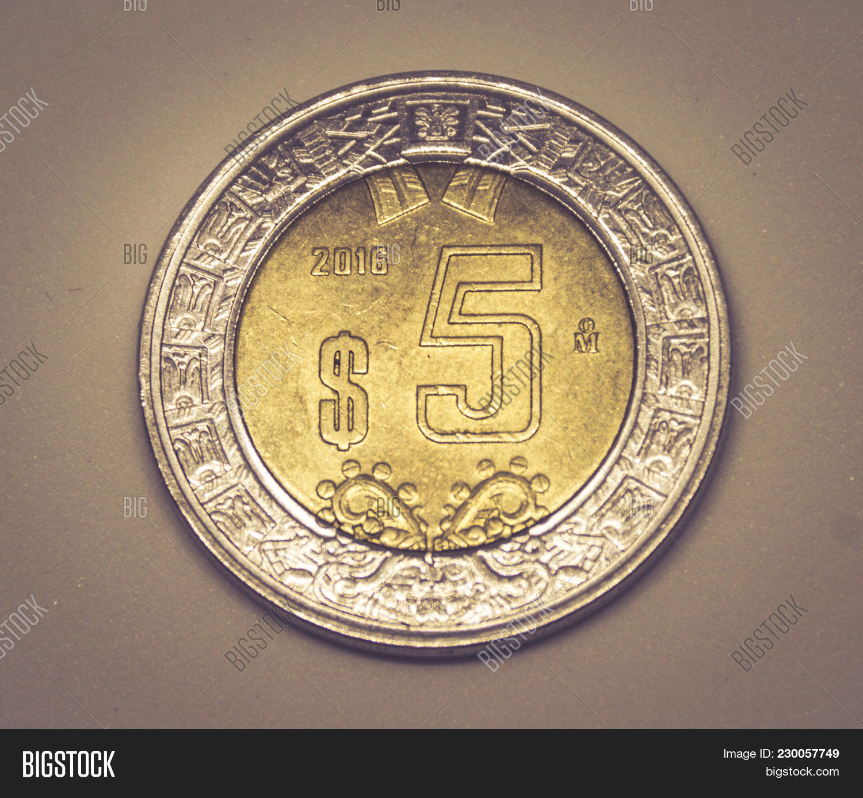 Five Mexican Pesos Image Photo Free Trial Bigstock