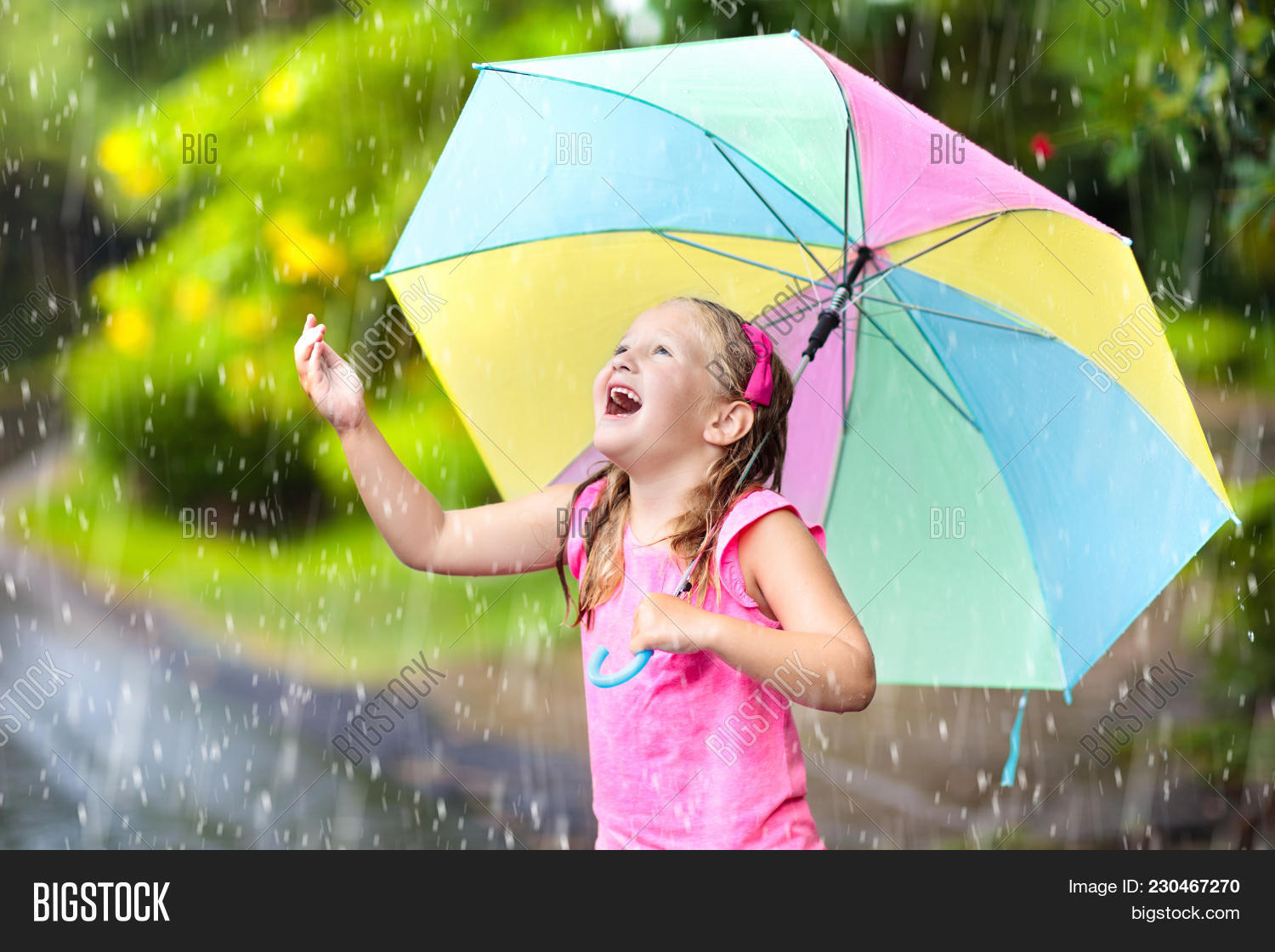 Kid Playing Out In The Rain Children With Umbrella Play Outdoors Heavy Little Caught First Spring Shower Kids Outdoor Fun By Rainy Autumn