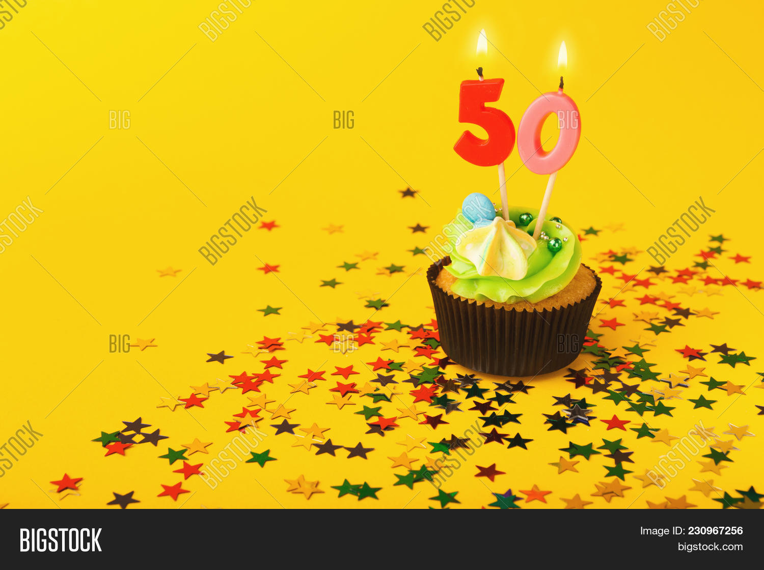 50th Birthday Cupcake With Candle And Sprinkles On Yellow Background Card Mockup Copy Space Party Holiday Concept