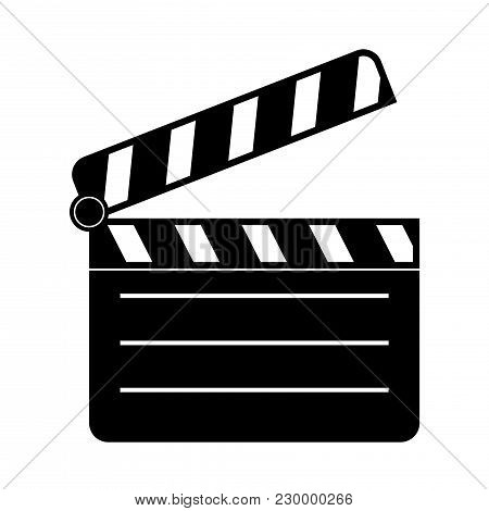 Movie Filming. Black Silhouette Icon. Vector Illustration Isolated On White Background