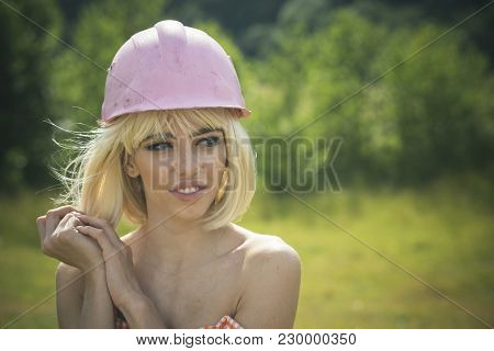 Building And Construction, Fashion. Working And Repair, Glamour Girl. Woman With Fashionable Makeup