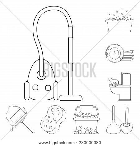 Cleaning And Maid Outline Icons In Set Collection For Design. Equipment For Cleaning Vector Symbol S