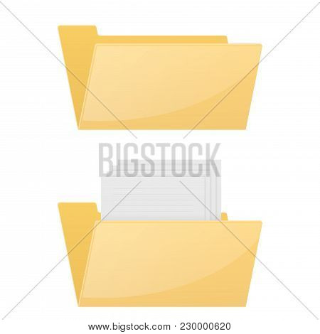 Folder Computer Icon. Empty And Full Folder. Vector 3d Illustration Isolated On White Background