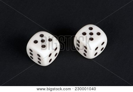 White Dices In The Maximum Combination Against Black Background, Closeup