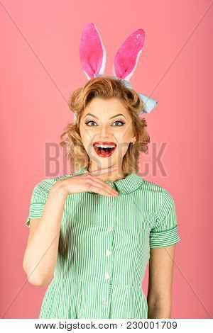 Beauty, Fashion, Cosmetics, Vintage Style. Retro Woman In Bunny Ears, Easter. Easter, Makeup, Pinup