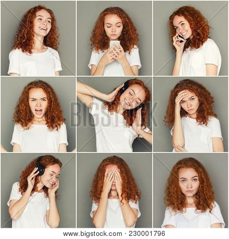 Set Of Different Emotions Of Casual Redhead Woman At Gray Studio Background. Young Female Using Gadg
