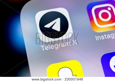 Sankt-petersburg, Russia, March 7, 2018: Telegram X Application Icon On Apple Iphone X Screen Close-