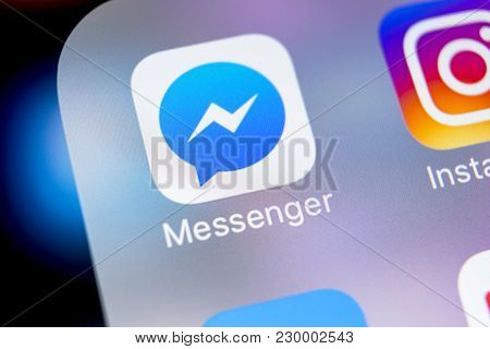 Sankt-petersburg, Russia, March 7, 2018: Facebook Messenger Application Icon On Apple Iphone X Scree