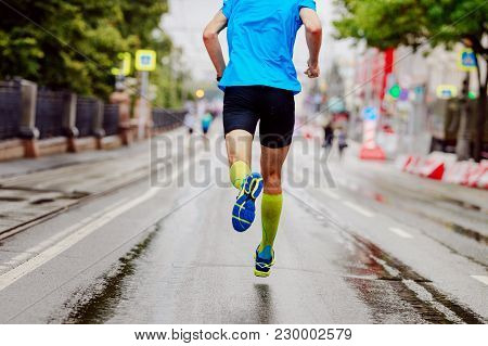 Back Young Runner In Yellow Compression Socks Running Urban Marathon