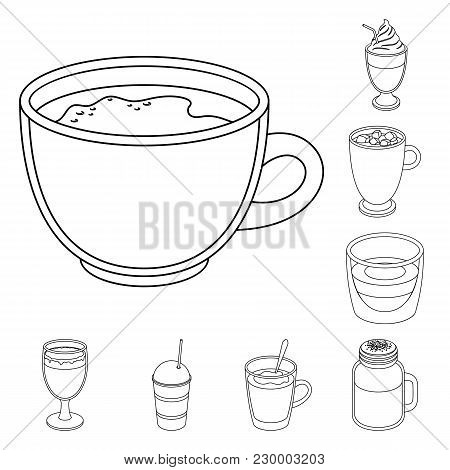 Different Kinds Of Coffee Outline Icons In Set Collection For Design. Coffee Drink Vector Symbol Sto