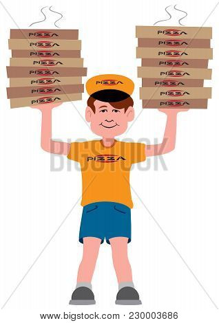 A Young Pizza Delivery Guy Has Just Shown Up With Two Large Stacks Of Pizzas