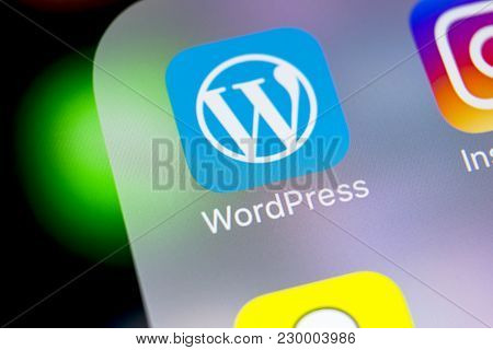 Sankt-petersburg, Russia, March 7, 2018: Wordpress Application Icon On Apple Iphone X Screen Close-u