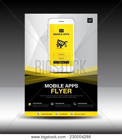 Mobile Apps Flyer Template. Business Brochure Flyer Design Layout. Smartphone Icon Mockup. Applicati