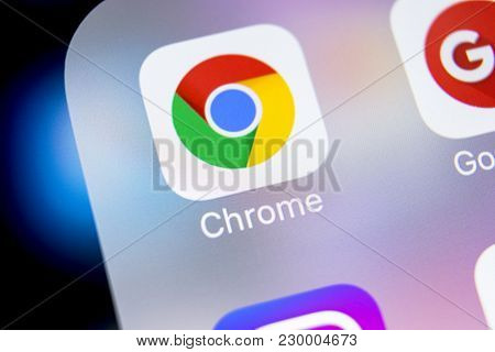 Sankt-petersburg, Russia, March 7, 2018: Google Chrome Application Icon On Apple Iphone X Screen Clo