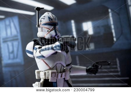 Action shot of Star Wars The Clone Wars Captain Rex - Hasbro Black Series action figure