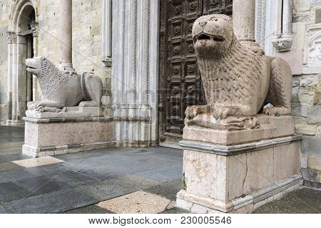 Lion Statues In Front Of Parma Cathedral, Italy. Statues Were Made By Giambono Da Bissono In 1281.
