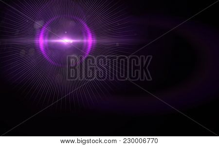 Abstract Image Of Sun Burst Lighting Flare.abstract Digital Lens Flare In Black Background Horizonta