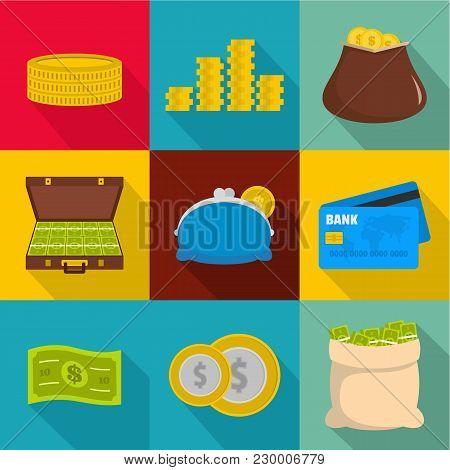 Money Stockpile Icons Set. Flat Set Of 9 Money Stockpile Vector Icons For Web Isolated On White Back