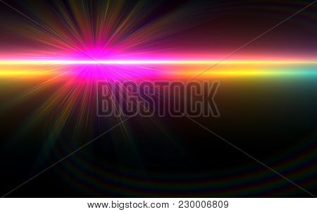 Lens Flare Light Over Black Background. Easy To Add Overlay Or Screen Filter Over Photos.two Beautif