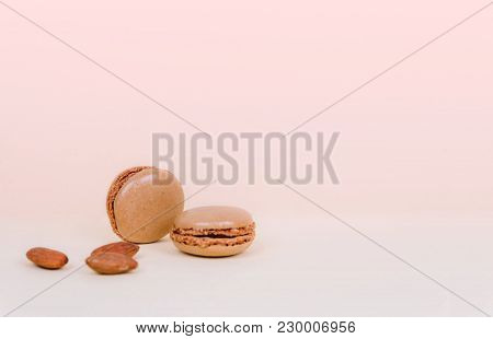 French Macaroon Cake Macaroons With Almonds. Creative Minimal Design.
