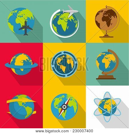 Planetary Environment Icons Set. Flat Set Of 9 Planetary Environment Vector Icons For Web Isolated O