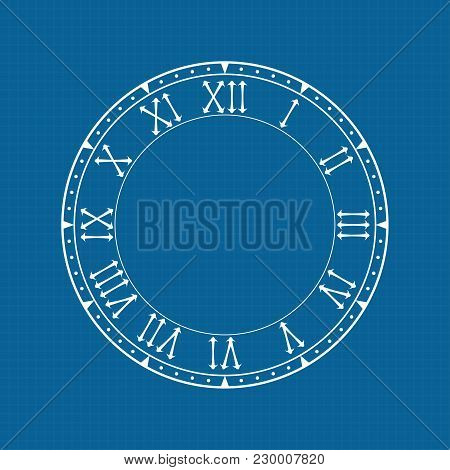 Clock Face With Roman Numerals On Blue Background. Vector Illustration