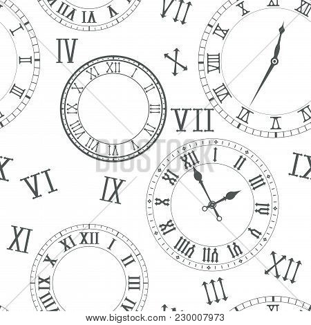 Time Background. Roman Numerals Clocks. Vector Illustration
