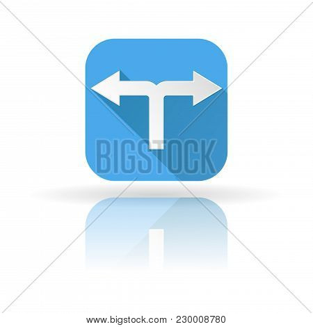 Arrow Icon. Blue Sign With Shadow And Reflection. Right And Left. Vector Illustration