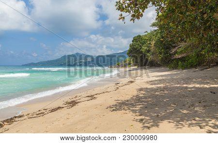 Anse Marie-laure Sandy Beach On Mahe Seychelles.
