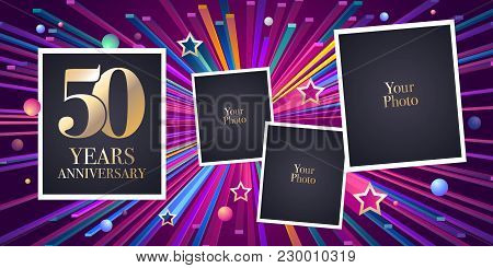 50 Years Anniversary Vector Icon, Logo. Design Element, Greeting Card With Collage Of Photo Frames F