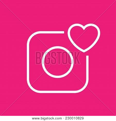 Vector Camera Icon. Camera And Heart. Editable Stroke Eps 10