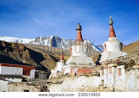 Buddhist Stupas (chortens) In Indian Himalayas In Ladakh