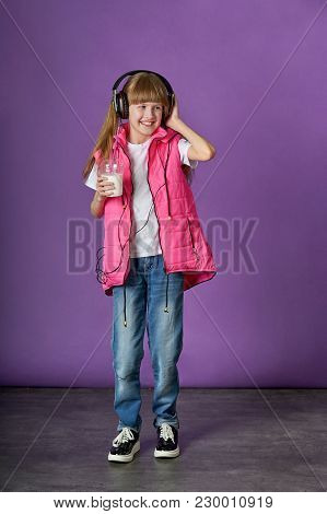 Teenager Girl Hipster Listen Music In Headphones, Drink Milk Cocktail. Pretty Caucasian Adolescent M