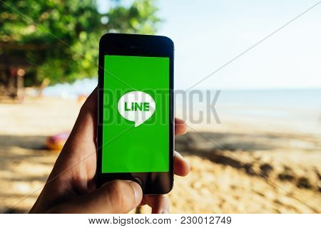 Krabi, Thailand - March 06, 2018: Closeup Of Iphone Screen With Line Chat Messenger App