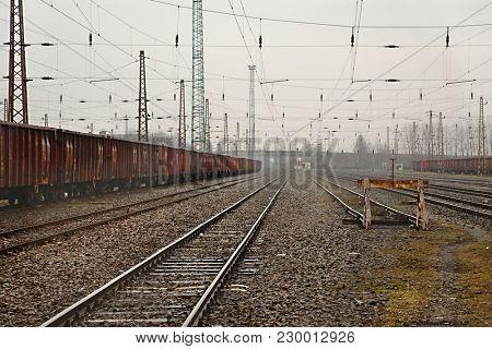 Railroad tracks of a station