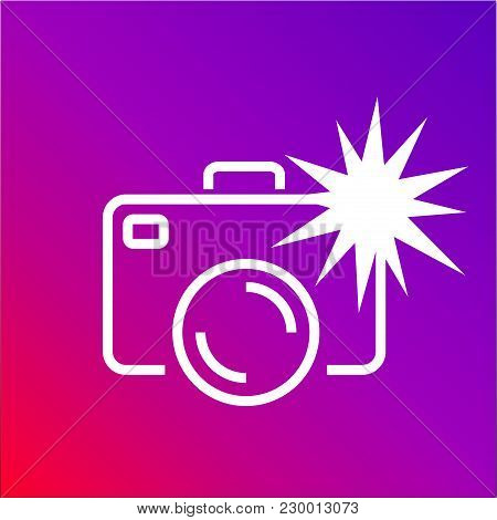 Camera Icon With Flash On The Colored Background. Editable Stroke. Eps 10