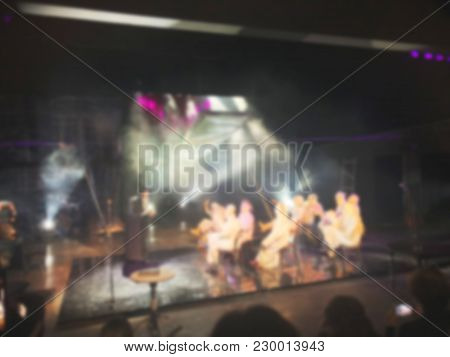 Abstract Blurred Background. Performance On Stage With Blur Effect.