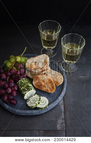 Cream Cheese With Chives And Slices Of Baguette