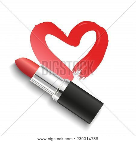 Vector Realistic Red Lipstick With Heart Shaped Lipstick Smear Isolated On White Background