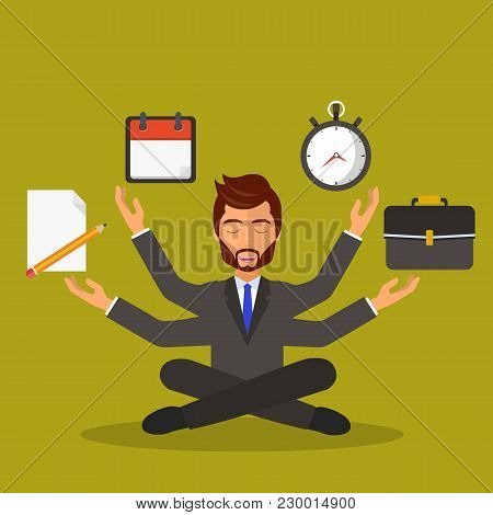 Human Resource And Self Employment Concept. Development And Internet Service. Multitasking And Multi