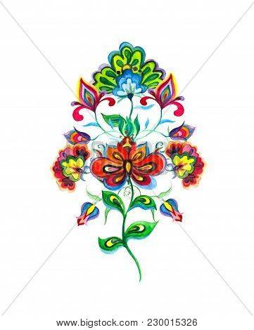 Hand Crafted Flowers Of Eastern Europe. Watercolor Motif For Embroidery