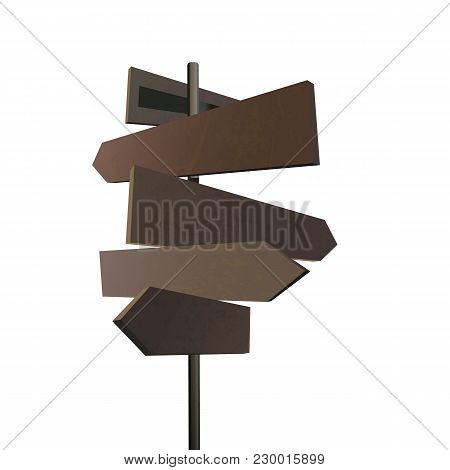 Wooden Old Road Sign In Village Style Isolated On White Background. Wood Arrow Plate. Western Grunge