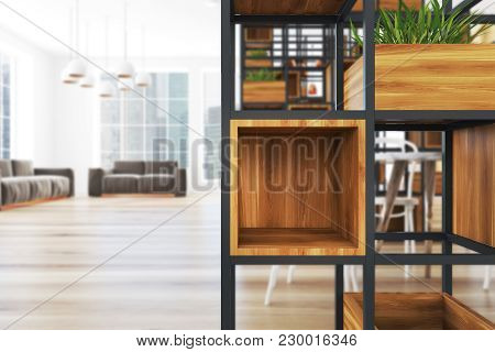 Ligth Wooden Wall Office Corner With A Wooden Floor A Black Bookcase And Panoramic Windows. Plants I