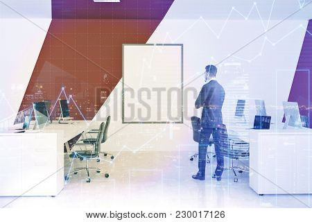 White And Red Office Interior With White Computer Tables, Black Chairs, A Framed Vertical Poster. A